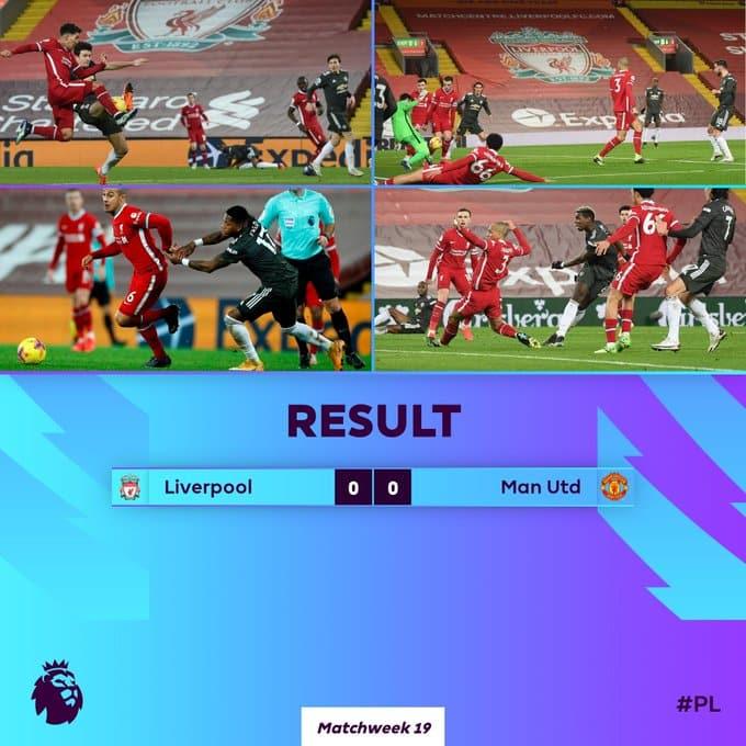 تعادل ليفربول ومانشستر يونايتد ضمن الجولة الـ19