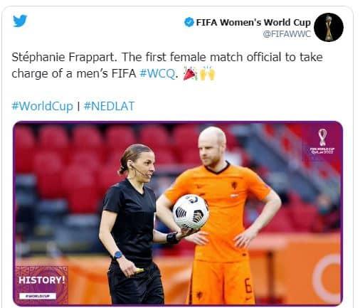 أول امرأة تدير مباراة بتصفيات كأس العالم
